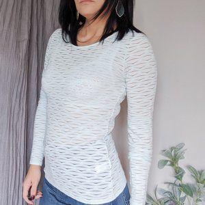 REISS Ice blue burnout long sleeve t-shirt  1007